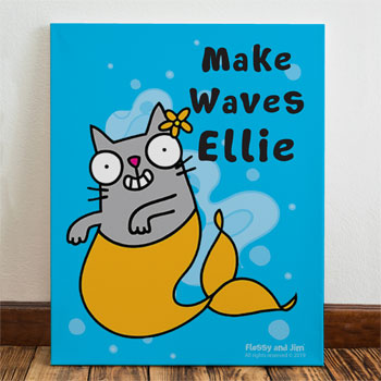 Flossy & Jim Girl's Personalised Purrmaid Childrens Canvas