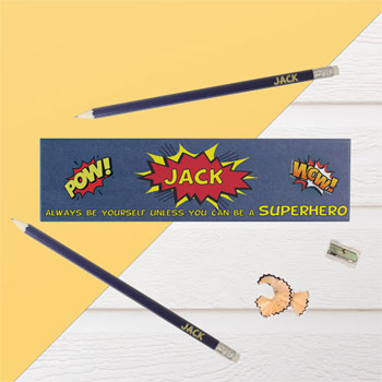 Boy's Personalised Superhero Blue Pencil Box & Pencils Set