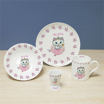 Girl's China Personalised Nina Kitten Fairy Breakfast Set