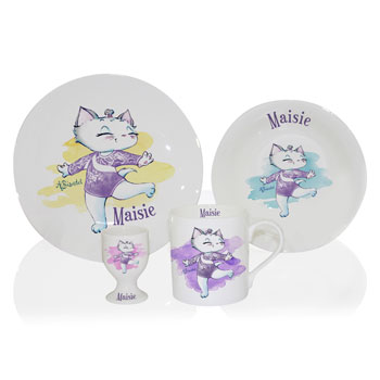 Girl's Personalised Nina Kitten Gymnast China Breakfast Set