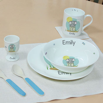 Personalised Elephant Safari Bone China Breakfast Set