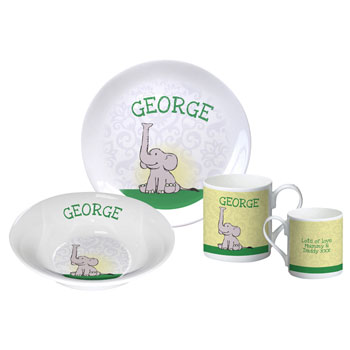 Personalised Baby Boy's Elephant Bone China Breakfast Set