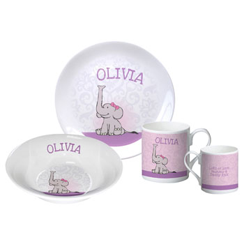 Personalised Baby Girl's Elephant Bone China Breakfast Set
