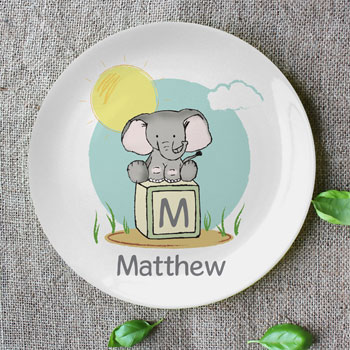Boy's Personalised Elephant Safari Initial Bone China Plate