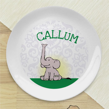 Boy's Personalised Baby Boy Elephant Bone China Coupe Plate