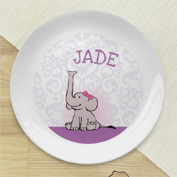 Girl's Personalised Baby Girl Elephant Bone China Plate