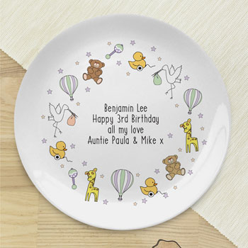 Personalised Nursery Scene Bone China Unisex Baby Plate