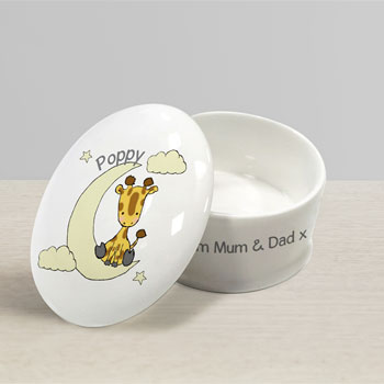 Personalised Bone China Sweet Dreams Giraffe Trinket Box