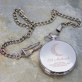 Personalised Silver Plated Eid Mubarak Dual Pocket Watch