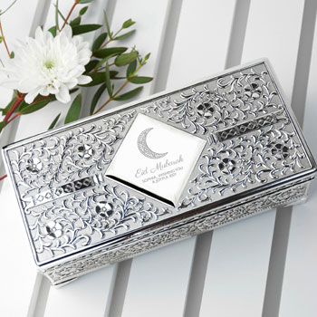 Personalised Silver Plated Eid Mubarak Jewellery Trinket Box