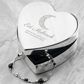 Personalised Eid Mubarak Heart Silver Plated Trinket Box