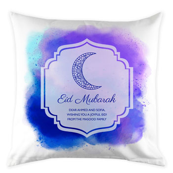 Personalised Pink or Blue Eid Mubarak Cushion Cover