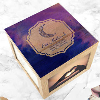 Personalised Pink or Blue Eid Mubarak Oak Keepsake Box
