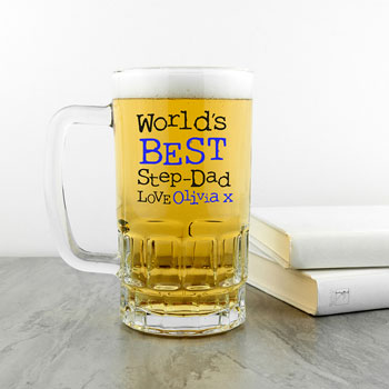 Personalised World's Best Step-Dad 1 Pint Beer Tankard