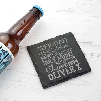 Personalised What A Step Dad Means Slate Keepsake Coaster