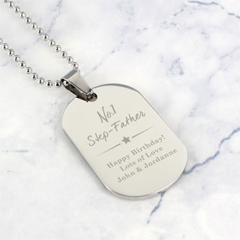 Personalised No.1 Stainless Steel Men's Dog Tag Necklace