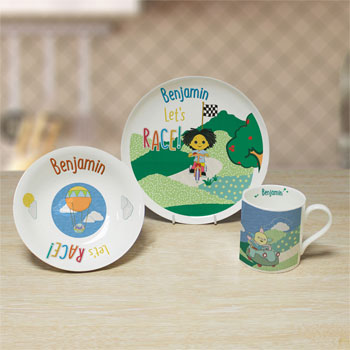 Moon and Me Let's Race Personalised China Breakfast Set