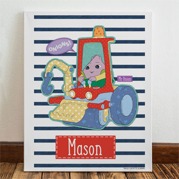 Personalised Moon and Me Mr Onion Name Canvas