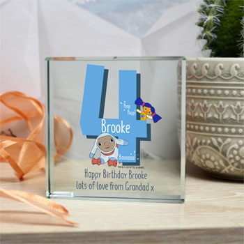 Moon and Me Personalised Birthday Glass Block