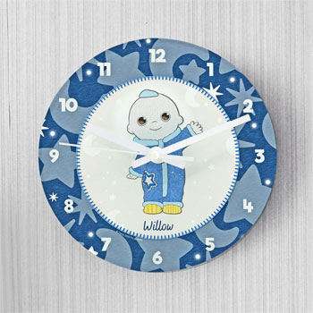 Personalised Moon and Me Moon Baby Glass Wall Clock