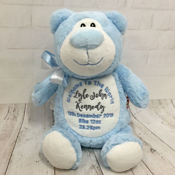 Boy's Personalised Blue Cubbies Welcome to the World Bear