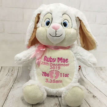 Personalised Baby Girl Cubbies White Birth Bunny Soft Toy