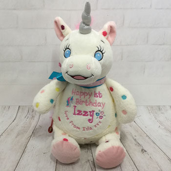 Baby Girl's Personalised First Birthday White Unicorn Teddy