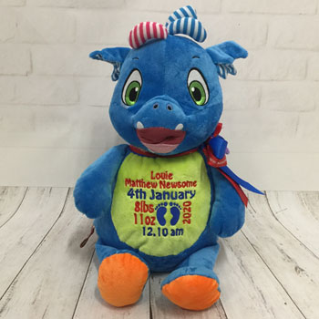 Baby Boy's Personalised Cubbies Dragon Birth Teddy