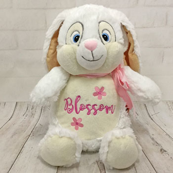 Girl's Embroidered White Cubbies Name Bunny With Flowers