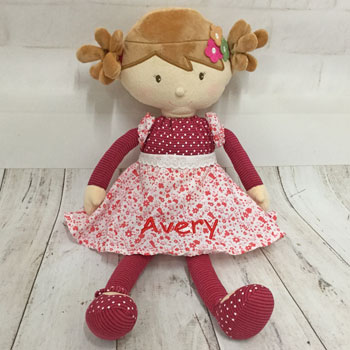 Scarlett Personalised Fair Trade Dolly In Red Dress
