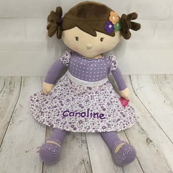 Iris Personalised Fair Trade Doll In Purple Dress