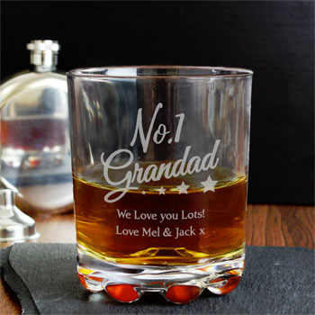 Personalised No. 1 Grandad Glass Whisky Tumbler