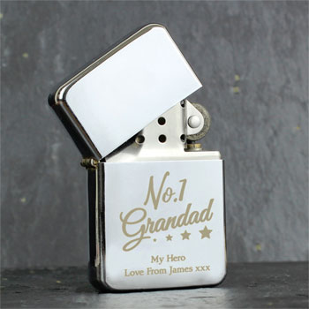Personalised No.1 Grandad Silver Lighter Grandad Gift