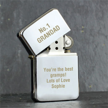 Personalised Chrome Lighter Any Text Smoker's Gift