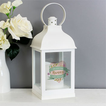 Personalised Floral Heart White Lantern Mum Grandmother Gift