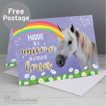 Personalised Rachael Hale Unicorn Girl's Birthday Card