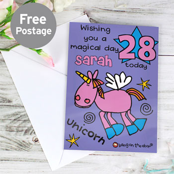 Girl's Personalised Bang On The Door Unicorn Age Card