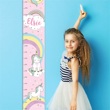 Girl's Pink Personalised Baby Unicorn Height Chart