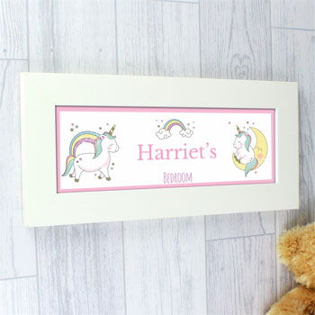 Baby Girl's Personalised Baby Unicorn Name Frame