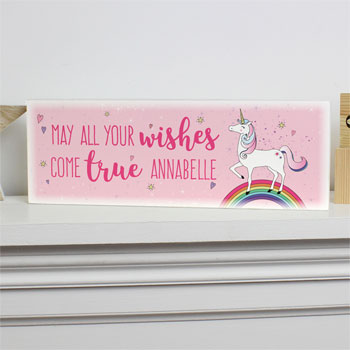 Wooden Sign Poster Clock Jewellery Hooks Personalised Unicorn Glitter Shaker