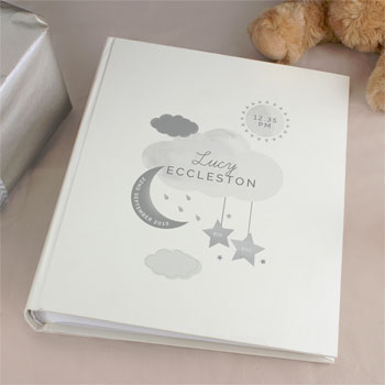 Personalised New Baby Moon & Stars Photo Album with Sleeves