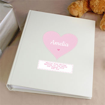 Personalised Stitch & Dot Pink Baby Girl Album with Sleeves
