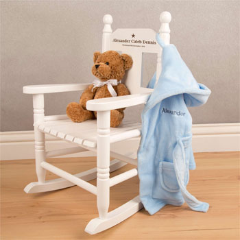 Personalised White Wooden Unisex Toddler Rocking Chair