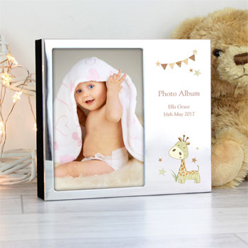 Personalised Hessian Giraffe 6x4 Inch Baby Photo Frame Album