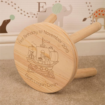 Boy's Personalised Pirate Ship Wooden Stool