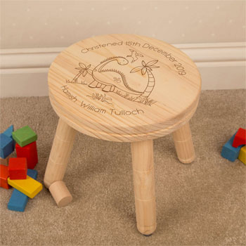 Boy's Personalised Engraved Dinosaur Wooden Stool