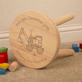 Personalised Engraved Digger Children's Wooden Stool