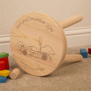 Boy's Personalised Racing Car Engraved Wooden Stool