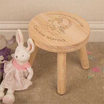 Girl's Personalised Unicorn Wooden Stool