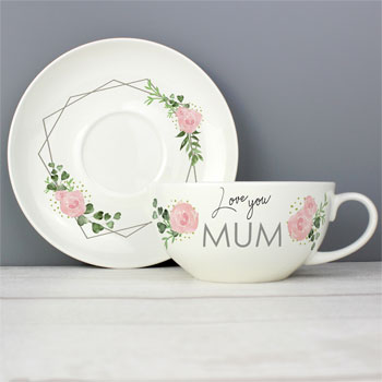 Personalised Fine Bone China  Abstract Rose Teacup & Saucer